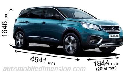 peugeot 5008 interior dimensions dimensions of peugeot cars showing length width and height