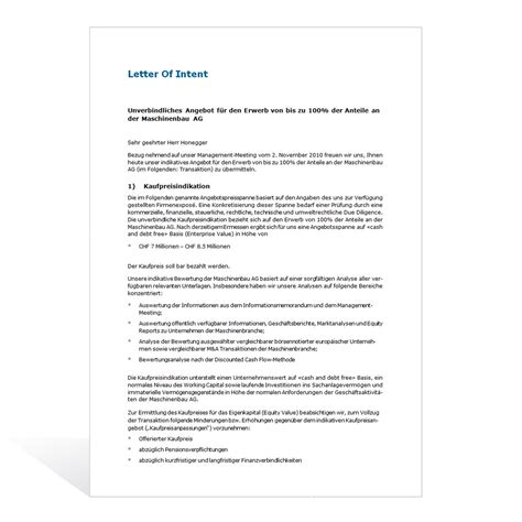 Muster Angebot Kauf Immobilie Muster Letter Of Intent
