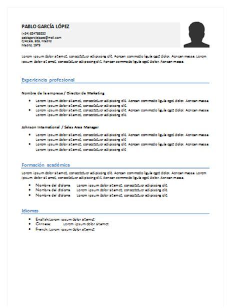 Plantilla De Curriculum Sencilla Curriculum Vitae Sencillo Y Simple Ejemplos Para Descargar