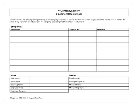equipment receipt template free equipment receipt form templates at
