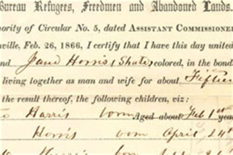 Freedmen S Bureau Marriage Records Select Freedmen S Bureau Records