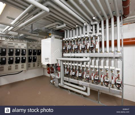 Apartment Building Electricity Meter Modern Heating System With Pipes In A Apartment Building