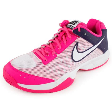 nike s air cage court tennis shoes pink and purple