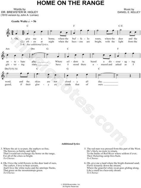 printable lyrics home on the range daniel e kelley quot home on the range quot sheet music