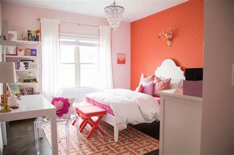 coral pink bedroom accent wall in room contemporary s room