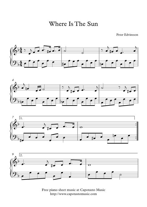 printable sheet music easy piano free easy piano sheet music where is the sun by peter