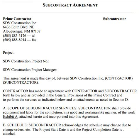 18 Subcontractor Agreement Templates Sle Templates Subcontractor Agreement Template Doc