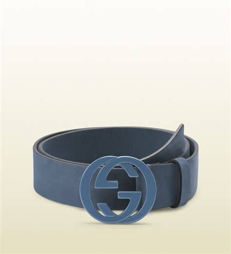 gucci sky blue leather belt with interlocking g buckle in