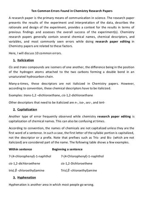 chemistry topics for research paper ten common errors found in chemistry research papers