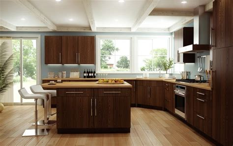 modern oak kitchen cabinets canyon creek cornerstone copenhagen red oak espresso