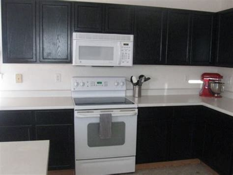 Black Kitchen Cabinets With White Appliances White Appliances Black Cabinets Kitchen Updates Pinterest