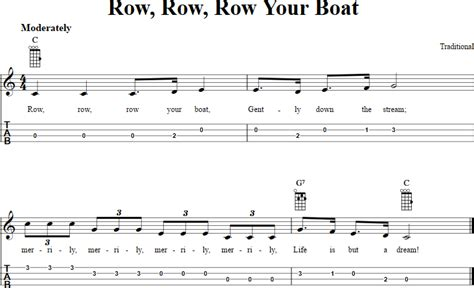 boat song tabs row row row your boat chords sheet music and tab for
