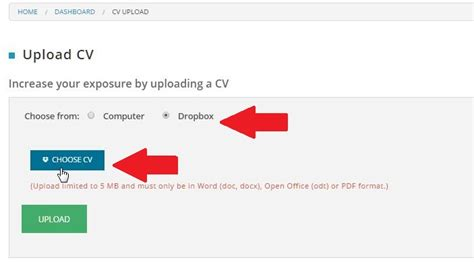 new feature upload your cv to mail via dropbox