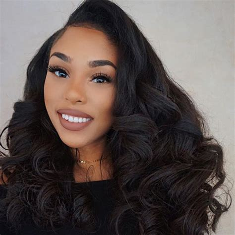 black hairstyles for full face women 22 inch body wavy brazilian virgin lace front wigs 220g