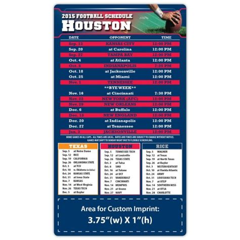 houston texans pro football schedule magnets 4 quot x 7