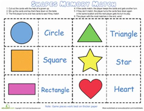 printable shapes matching game shape and color match game worksheet education com
