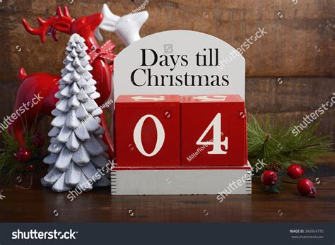 4 days till christmas vintage style wood calendar with red