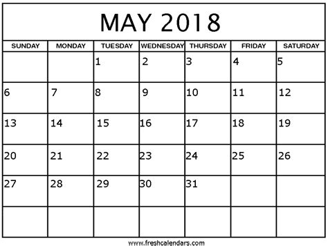 calendar 2018 template blank may 2018 calendar printable templates