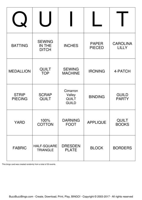 swan lake quilt guild bingo cards to download print and
