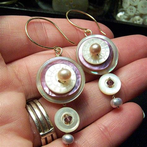 Handmade Button Jewellery - antique button jewelry earrings by alterity via