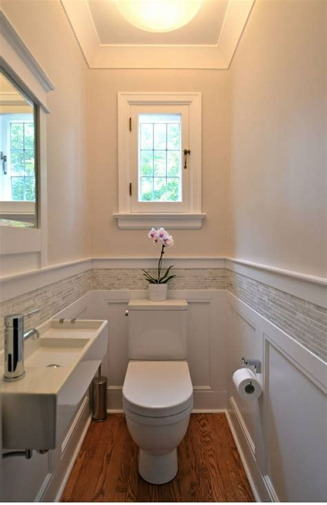 Small Powder Bathroom Ideas Small Bathroom Wainscoting With Tile Detail Bathroom Remodel Pinterest Window