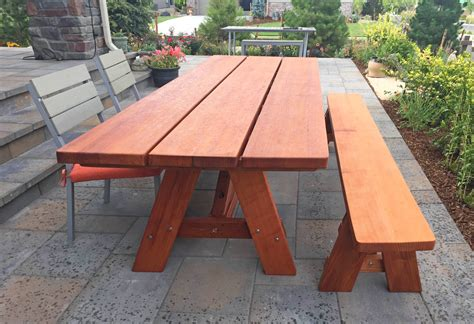redwood picnic table forever wood picnic tables built to last decades