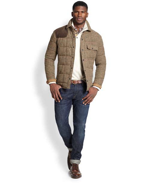 Ink Black Grey Polos Jacket Jaket Parasut Jaket Elegan polo ralph wilmont tweed shirt jacket in brown for