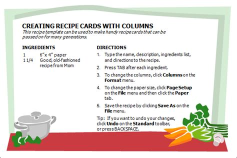 Microsoft Word 2007 Recipe Card Template by Creative Professional Cooking Recipe Card Template Word