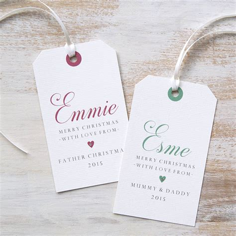 personalised christmas gift tag by button box cards