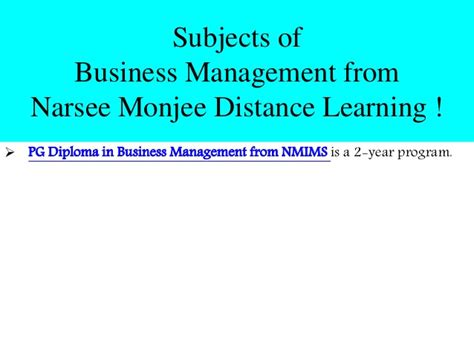 Nmims Distance Mba by Post Graduate Diploma In Business Management From Narsee