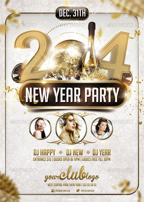 25 Christmas New Year Party Psd Flyer Templates Web Graphic Design Bashooka New Years Flyer Template
