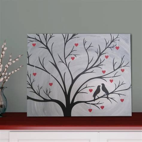 Birds in Heart Tree Silhouette Painting   Hand Painted