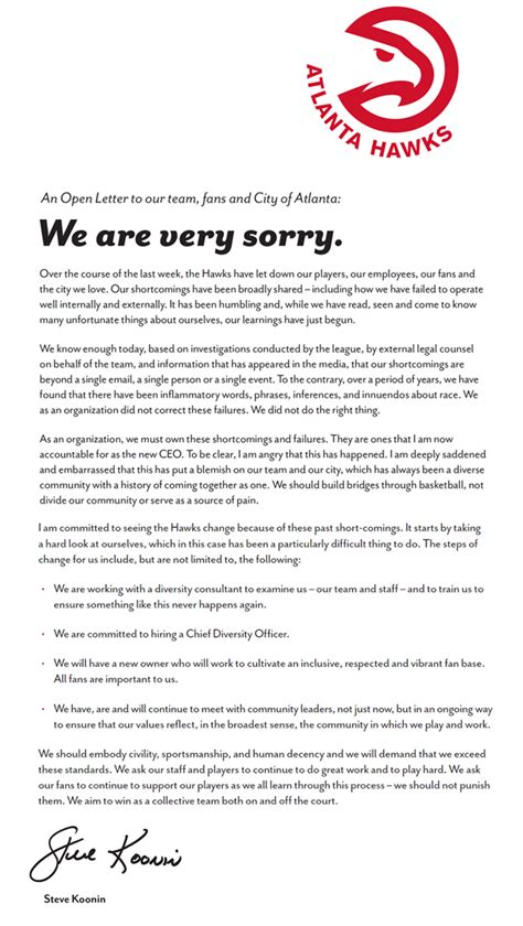 Exle Of Apology Letter For Absence Atlanta Hawks Issue Letter Of Apology To Their Fans And Atlanta Cbssports