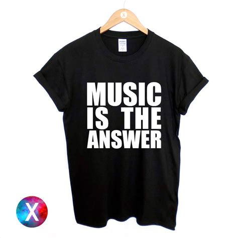 house music clothing music is the answer printed black t shirt new mens womens tee dance rave house tshirt
