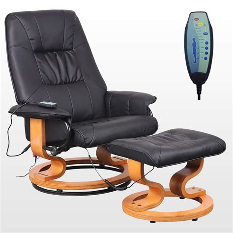 Tuscany Real Leather Black Swivel Recliner Massage Chair W