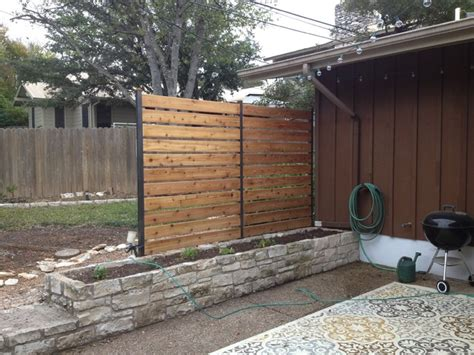 backyard privacy wall privacy fence industrial patio austin by sierra prana
