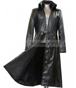 Mens long black trench coat black leather jacket for men