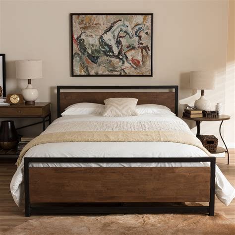 bed style baxton studio gabby industrial style antique bronze