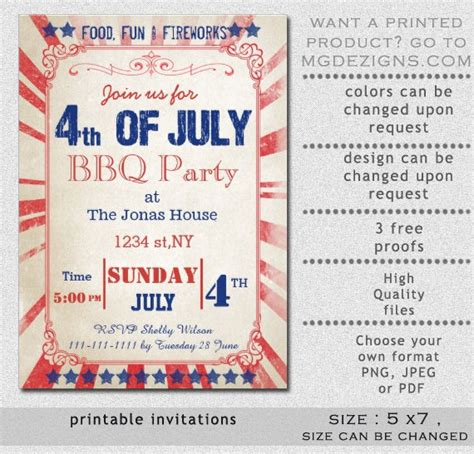 printable rustic 4th of july party invitation templates