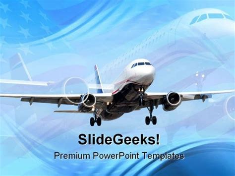 Americana Airplane Transportation Powerpoint Templates And Powerpoint Backgrounds 0511 Airplane Powerpoint Template