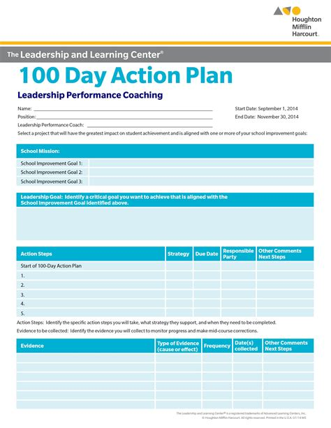 100 days plan template school improvement 100 day plan select a goal for