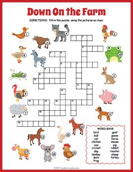 printable crossword puzzle animals farm animals crossword puzzle by puzzles to print tpt