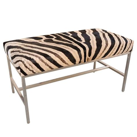 zebra bench ottoman african zebra skin ottoman with polished chrome legs at