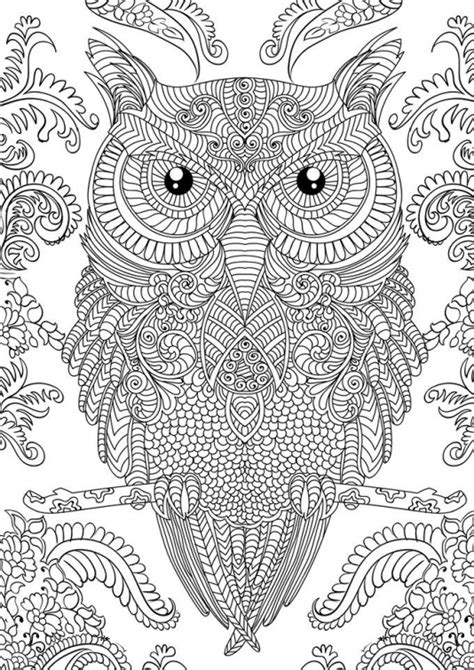 owl doodle art hard coloring page free to print for grown