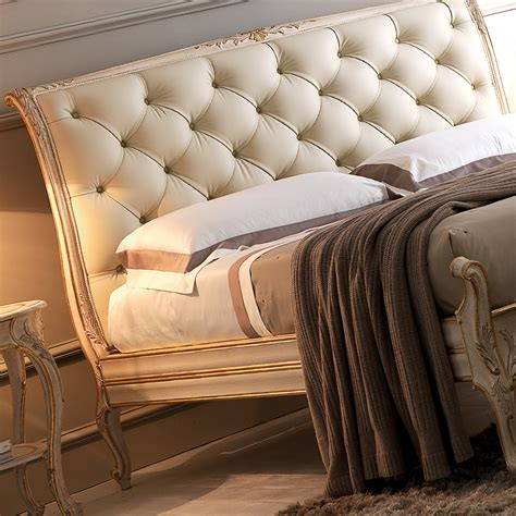Leather Upholstered Bed by High End Italian Ornate Leather Button Upholstered Bed
