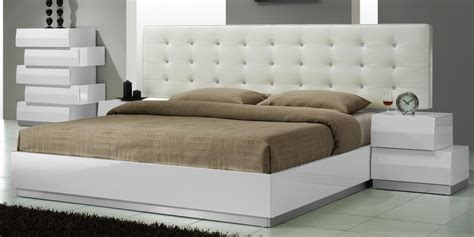white bedroom set aliya king size modern leatherette white lacquered