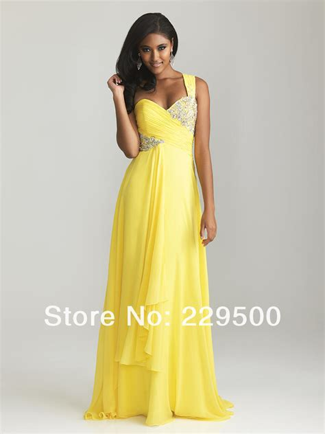 yellow chiffon cocktail dress 2013 new arrival one shoulder yellow crystal floor length