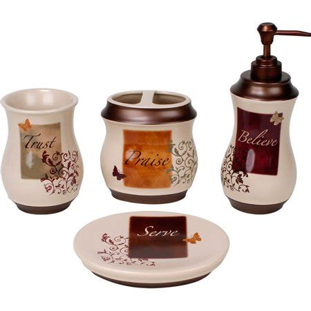 butterfly blessings 4piece bathroom accessory set red