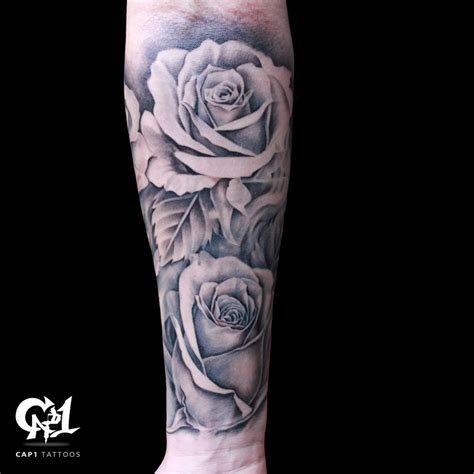 black and grey tattoo artist dallas rose tattoo sleeve by capone tattoonow