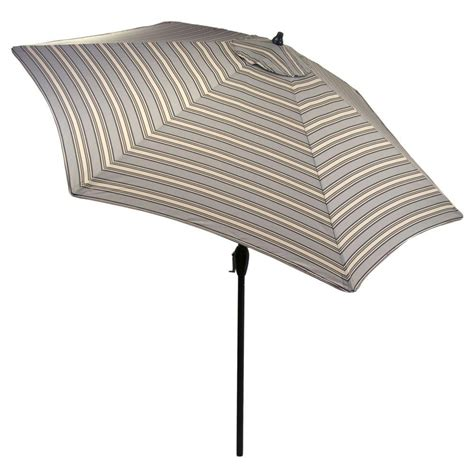 Hton Bay 9 Ft Aluminum Market Patio Umbrella In Cement Striped Patio Umbrella 9 Ft